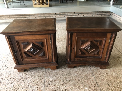Pair Brazilian Carved Side Cabinets
