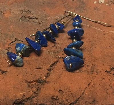 Lapis Chip and Twisted Gold Filled Wire Earrings