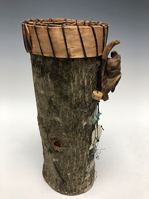 Bark Urn with Birch Bark Collar and Driftwood
